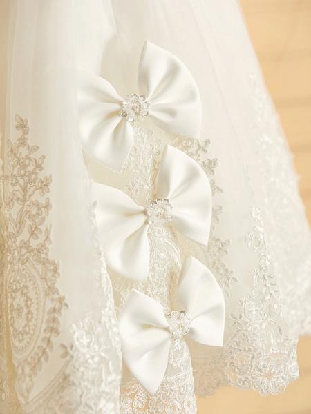 Princess Tea Length Wedding / Birthday / Pageant Flower Girl Dresses - Satin / Tulle Sleeveless Jewel Neck With Bows / Belt / Beading_10