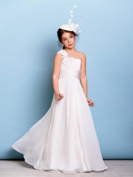 A-Line One Shoulder Floor Length Chiffon Junior Bridesmaid Dress With Sash / Ribbon / Criss Cross / Ruched / Natural_3