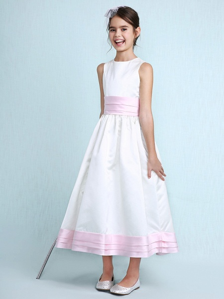 Princess / A-Line Jewel Neck Knee Length Satin Junior Bridesmaid Dress With Sash / Ribbon / Ruched / Ruffles / Spring / Summer / Fall / Winter / Wedding Party_1