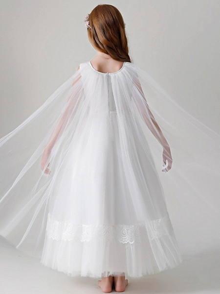 Ball Gown Round Floor Length Tulle Junior Bridesmaid Dress With Crystals / Appliques_4