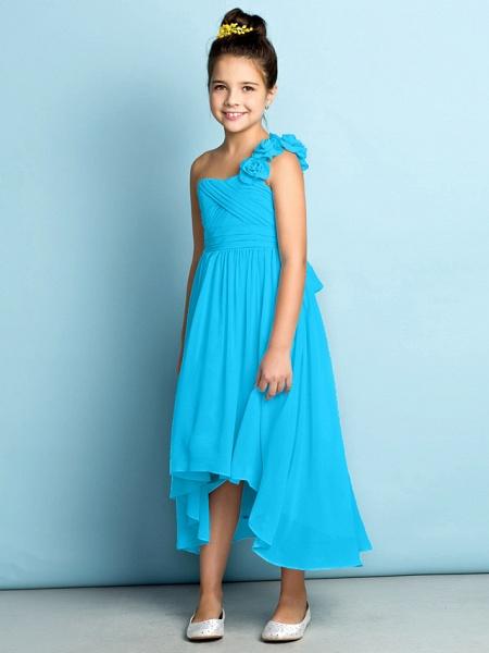 A-Line One Shoulder Asymmetrical Chiffon Junior Bridesmaid Dress With Criss Cross / Flower / Natural / Mini Me_35