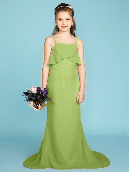 Sheath / Column Spaghetti Strap Sweep / Brush Train Chiffon Junior Bridesmaid Dress With Tiered / Wedding Party / Open Back_40