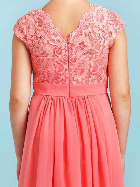 Princess / A-Line V Neck Floor Length Chiffon / Lace Junior Bridesmaid Dress With Sash / Ribbon / Pleats / Wedding Party_7