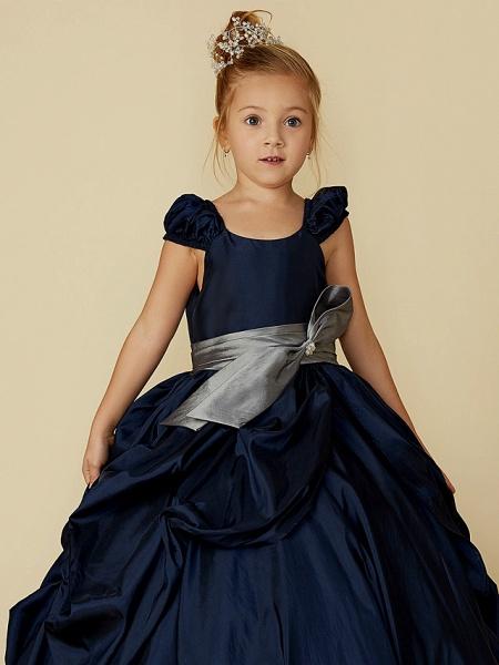 Ball Gown Floor Length Pageant Flower Girl Dresses - Taffeta Short Sleeve Scoop Neck With Belt / Bow(S)_6