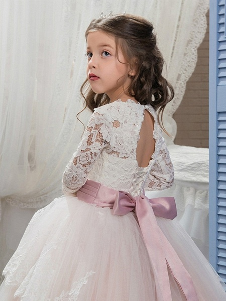 Ball Gown Sweep / Brush Train Wedding / Birthday / Pageant Flower Girl Dresses - Lace / Tulle / Cotton Long Sleeve Jewel Neck With Lace / Belt / Embroidery_4