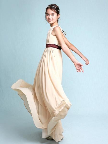 Sheath / Column Scoop Neck Floor Length Chiffon Junior Bridesmaid Dress With Draping / Natural_5