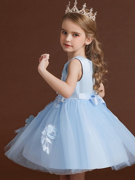 Princess / Ball Gown Knee Length Wedding / Party Flower Girl Dresses - Tulle / Satin Chiffon Sleeveless Jewel Neck With Bow(S) / Appliques_4