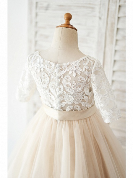 Ball Gown Knee Length Wedding / Birthday Flower Girl Dresses - Lace / Tulle Half Sleeve Jewel Neck With Belt / Buttons_4