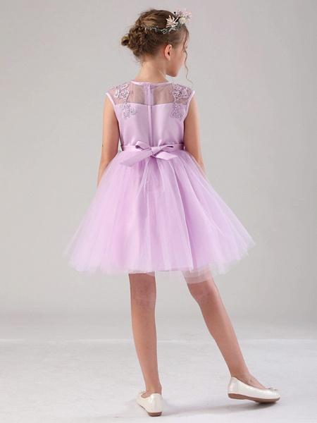 Princess / Ball Gown Medium Length Wedding / Birthday Flower Girl Dresses - Satin / Tulle Sleeveless Jewel Neck With Beading / Appliques / Solid_3