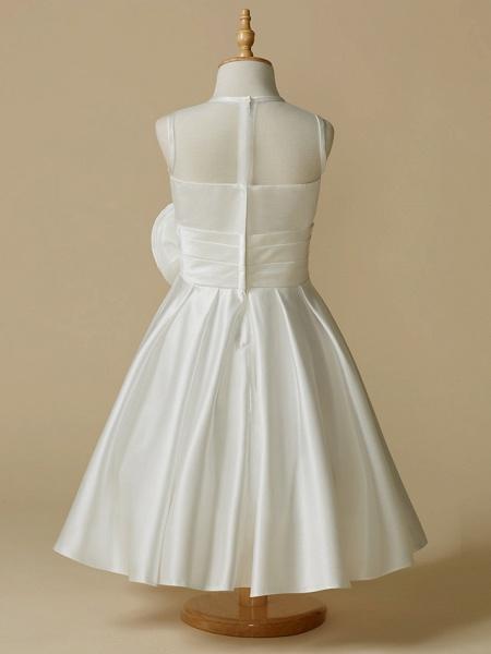 A-Line Tea Length Wedding / First Communion Flower Girl Dresses - Taffeta Sleeveless Jewel Neck With Flower_2