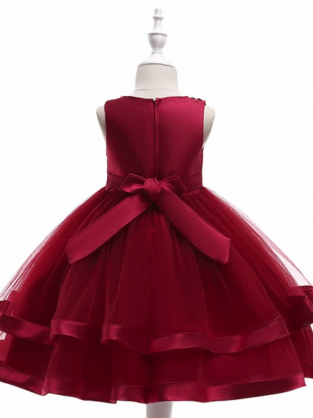 A-Line Knee Length Wedding / Birthday / Pageant Flower Girl Dresses - Cotton Blend Sleeveless Jewel Neck With Sash / Ribbon / Pearls / Trim_9