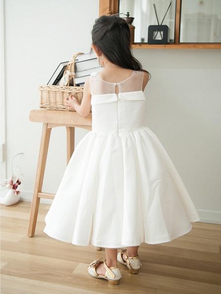 Ball Gown Tea Length Wedding / First Communion / Birthday Flower Girl Dresses - Satin Sleeveless Jewel Neck With Petal / Appliques_2
