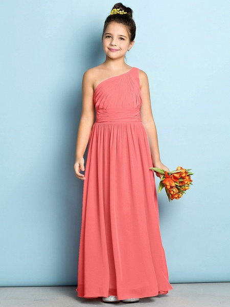 A-Line One Shoulder Ankle Length Chiffon Junior Bridesmaid Dress With Side Draping / Natural / Mini Me_12