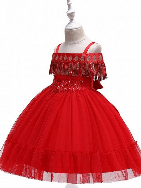 Princess / Ball Gown Knee Length Wedding / Party Flower Girl Dresses - Tulle Short Sleeve Off Shoulder With Bow(S) / Pleats / Beading_6