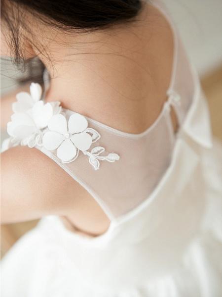Ball Gown Tea Length Wedding / First Communion / Birthday Flower Girl Dresses - Satin Sleeveless Jewel Neck With Petal / Appliques_4