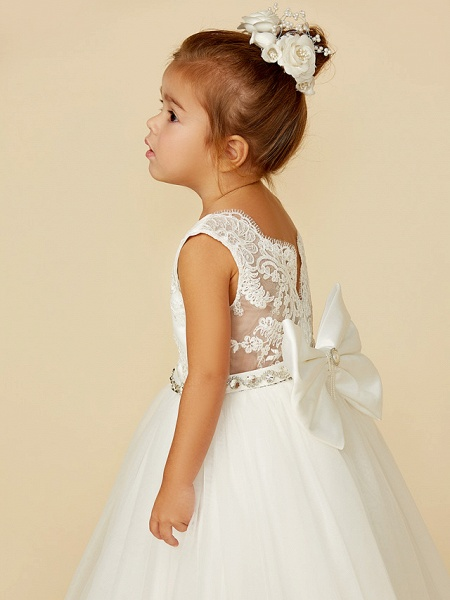 Princess Floor Length Wedding / First Communion Flower Girl Dresses - Lace / Tulle Sleeveless Jewel Neck With Lace / Sash / Ribbon / Bow(S)_9