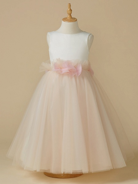 A-Line Tea Length Pageant Flower Girl Dresses - Satin / Tulle Sleeveless Jewel Neck With Bow(S) / Flower_1