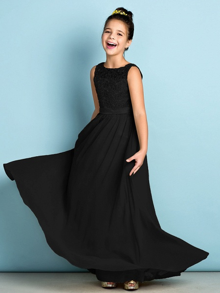 A-Line Scoop Neck Floor Length Chiffon / Lace Junior Bridesmaid Dress With Lace / Natural / Mini Me_40