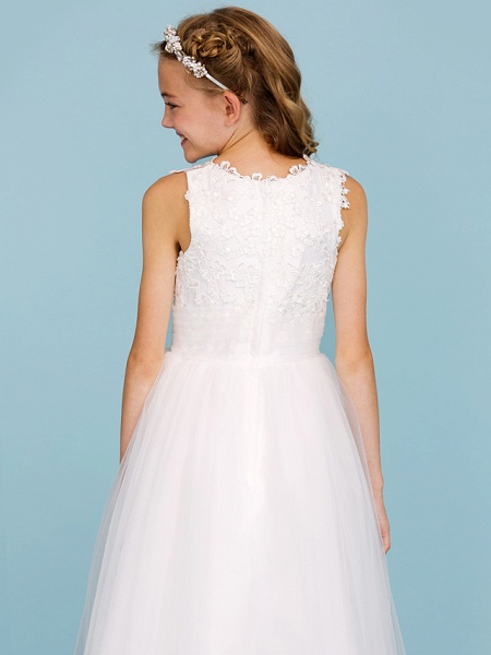 Princess / A-Line Crew Neck Ankle Length Lace / Tulle Junior Bridesmaid Dress With Sash / Ribbon / Wedding Party_7