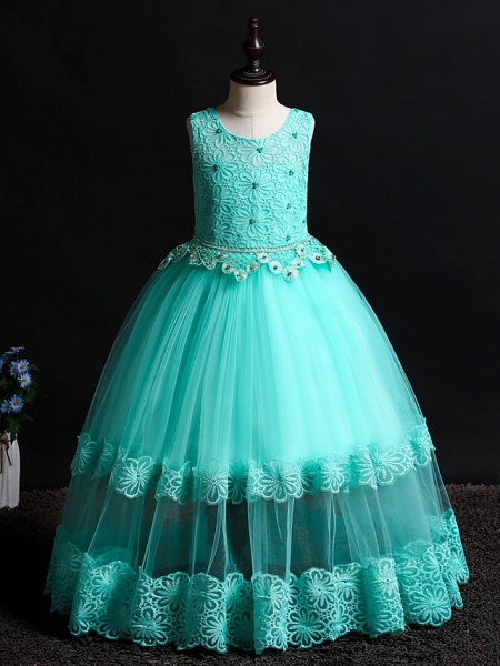 Princess Floor Length Wedding / Birthday Lace / Tulle / Polyester Sleeveless Jewel Neck With Lace / Bow(S) / Pearls_4