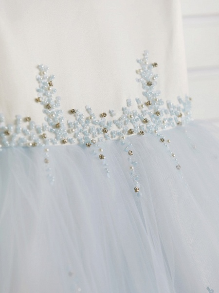 Princess Tea Length Wedding / Birthday / Pageant Flower Girl Dresses - Satin / Tulle Cap Sleeve Jewel Neck With Beading_8