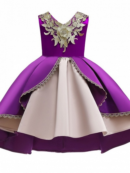 Ball Gown Ankle Length Pageant Flower Girl Dresses - Polyester Sleeveless V Neck With Appliques_3