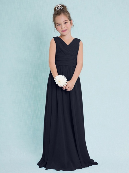 Sheath / Column V Neck Floor Length Chiffon Junior Bridesmaid Dress With Criss Cross / Ruched / Natural_35