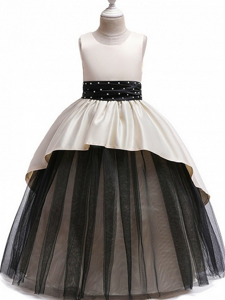 Princess Round Floor Length Cotton Junior Bridesmaid Dress With Bow(S) / Ruching_3