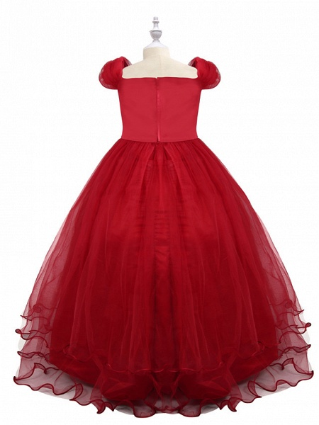 Princess Maxi Birthday / Pageant Flower Girl Dresses - Chiffon / Tulle Short Sleeve Boat Neck With Beading / Appliques / Paillette_8