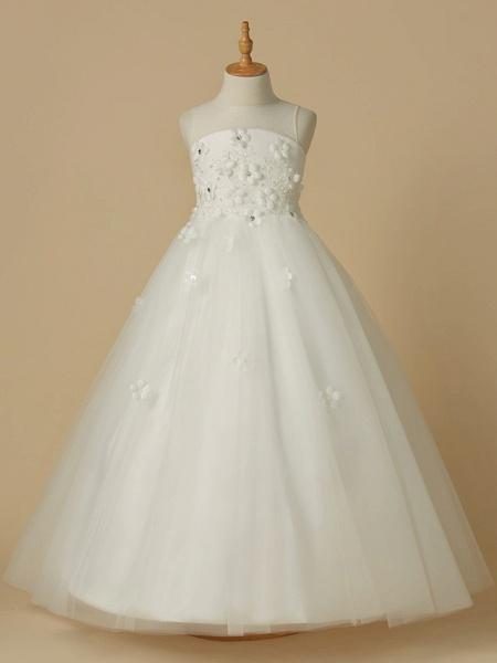 A-Line Floor Length Wedding / First Communion Flower Girl Dresses - Satin / Tulle Sleeveless Jewel Neck With Beading / Flower_1