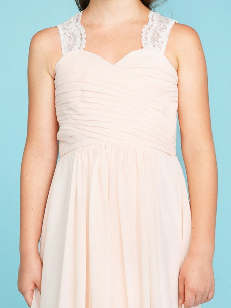 Princess / A-Line Strap Floor Length Chiffon / Lace Junior Bridesmaid Dress With Ruched / Side-Draped / Wedding Party_7