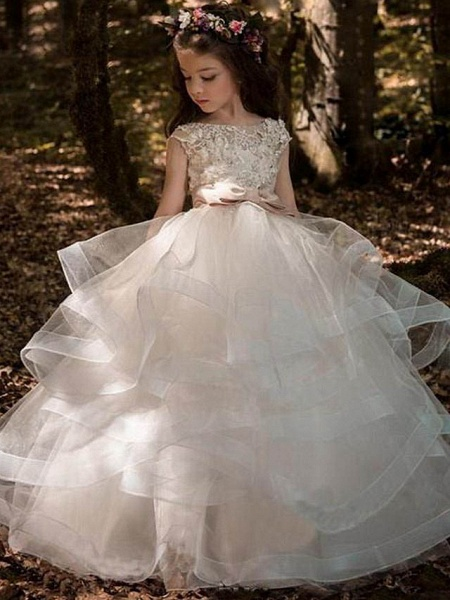 Princess Sweep / Brush Train Communion Dresses - Tulle / Polyester Sleeveless Jewel Neck With Pick Up Skirt / Solid_1