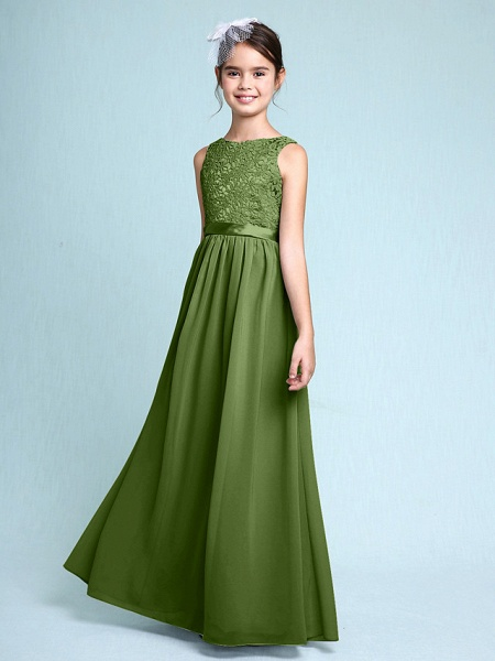 Sheath / Column Bateau Neck Floor Length Chiffon / Lace Junior Bridesmaid Dress With Lace / Natural_40