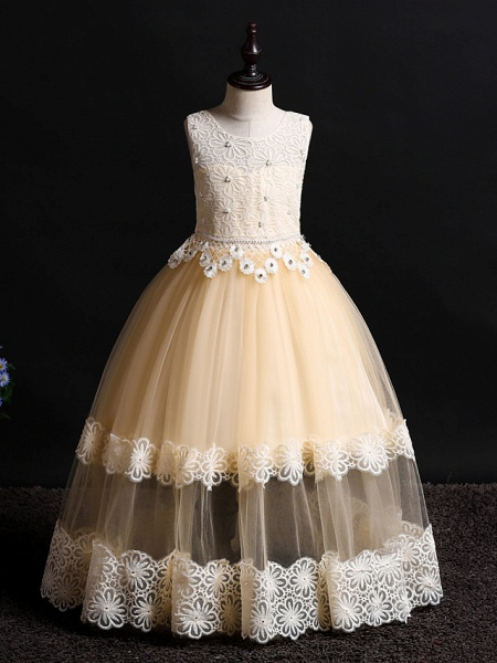 Princess Floor Length Wedding / Birthday Lace / Tulle / Polyester Sleeveless Jewel Neck With Lace / Bow(S) / Pearls_3