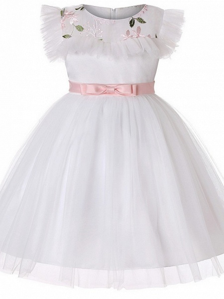 Princess / Ball Gown Floor Length Wedding / Party Flower Girl Dresses - Tulle Short Sleeve Jewel Neck With Sash / Ribbon / Bow(S) / Embroidery_3
