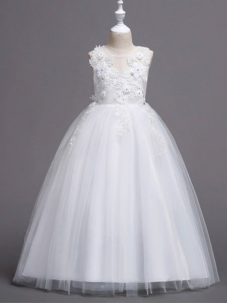 Princess Floor Length Wedding / Birthday / Pageant Flower Girl Dresses - Lace / Tulle / Polyester Sleeveless Jewel Neck With Lace / Pattern / Print / Splicing_3