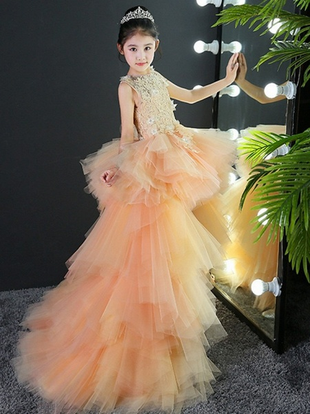A-Line Asymmetrical Wedding / Pageant Flower Girl Dresses - Tulle Sleeveless Jewel Neck With Tier / Appliques_8