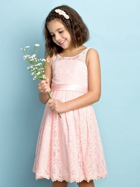 A-Line Scoop Neck Knee Length All Over Floral Lace Junior Bridesmaid Dress With Lace / Natural / Mini Me_5