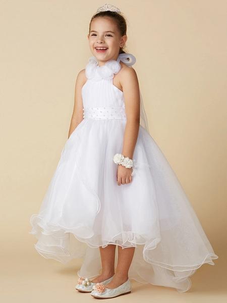 A-Line Asymmetrical Wedding / First Communion Flower Girl Dresses - Organza Sleeveless Halter Neck With Bow(S) / Pleats_3