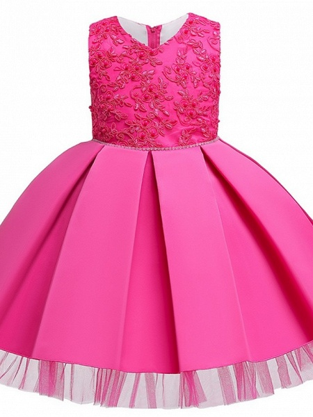 Princess / Ball Gown Knee Length Wedding / Party Flower Girl Dresses - Tulle Sleeveless V Neck With Sash / Ribbon / Bow(S) / Appliques_6