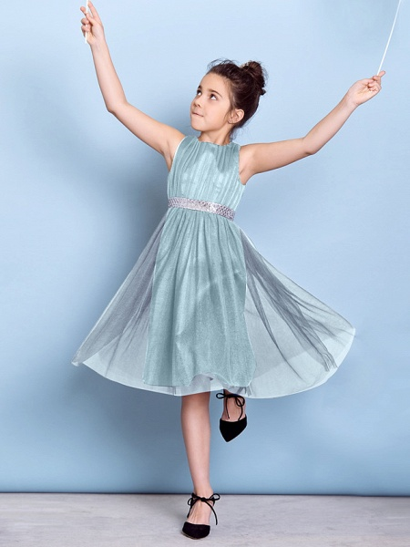 A-Line Jewel Neck Knee Length Tulle Junior Bridesmaid Dress With Sash / Ribbon / Sequin / Draping / Natural_41