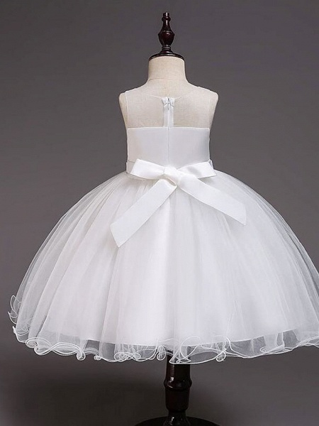 Princess Knee Length Wedding / Party / Pageant Flower Girl Dresses - Satin / Tulle / Cotton Sleeveless Jewel Neck With Belt / Crystals / Beading_10
