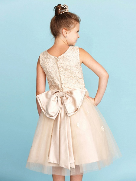 Princess / A-Line Jewel Neck Knee Length Lace / Tulle Junior Bridesmaid Dress With Bow(S) / Appliques / Wedding Party_7