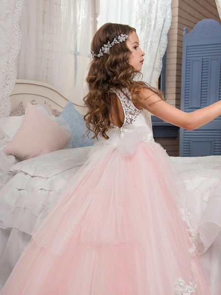 Princess Sweep / Brush Train Party / Birthday / Pageant Flower Girl Dresses - Cotton / Nylon With A Hint Of Stretch / Lace / Tulle Sleeveless Jewel Neck With Lace / Bow(S) / Appliques_2