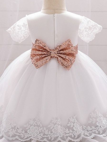 Ball Gown Floor Length Wedding / Party Christening Gowns - Lace / Satin / Tulle Sleeveless Jewel Neck With Bow(S) / Paillette_5