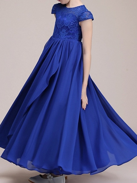 A-Line Ankle Length Pageant Flower Girl Dresses - Polyester Cap Sleeve Jewel Neck With Lace_2