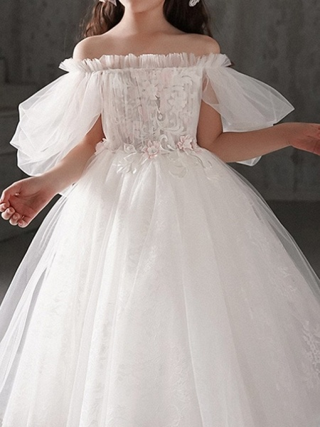 Ball Gown Ankle Length First Communion Flower Girl Dresses - Polyester Half Sleeve Off Shoulder With Appliques_1