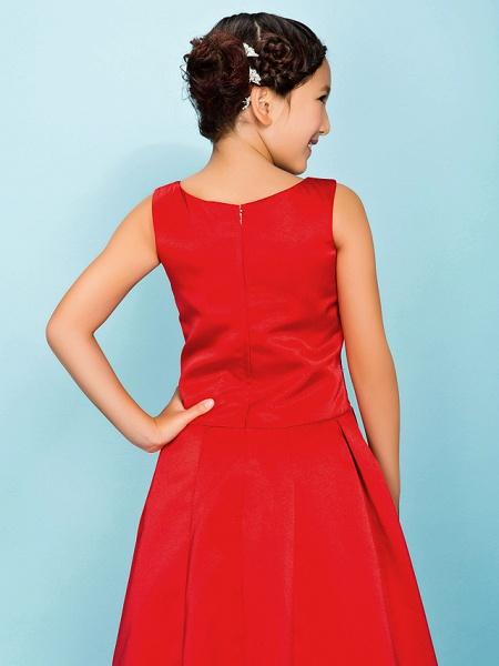 Princess / A-Line Bateau Neck Floor Length Satin Junior Bridesmaid Dress With Criss Cross / Beading / Draping / Spring / Summer / Fall / Apple / Hourglass_6