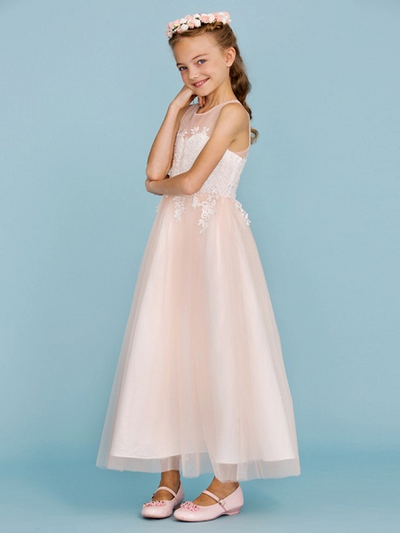 Princess / A-Line Jewel Neck Ankle Length Lace / Tulle Junior Bridesmaid Dress With Sash / Ribbon / Appliques / Wedding Party / Open Back_5