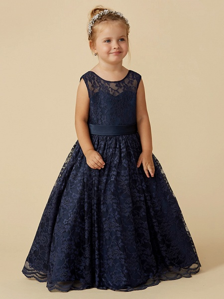 Ball Gown Floor Length Pageant Flower Girl Dresses - Lace Sleeveless Jewel Neck With Sash / Ribbon / Bow(S)_4